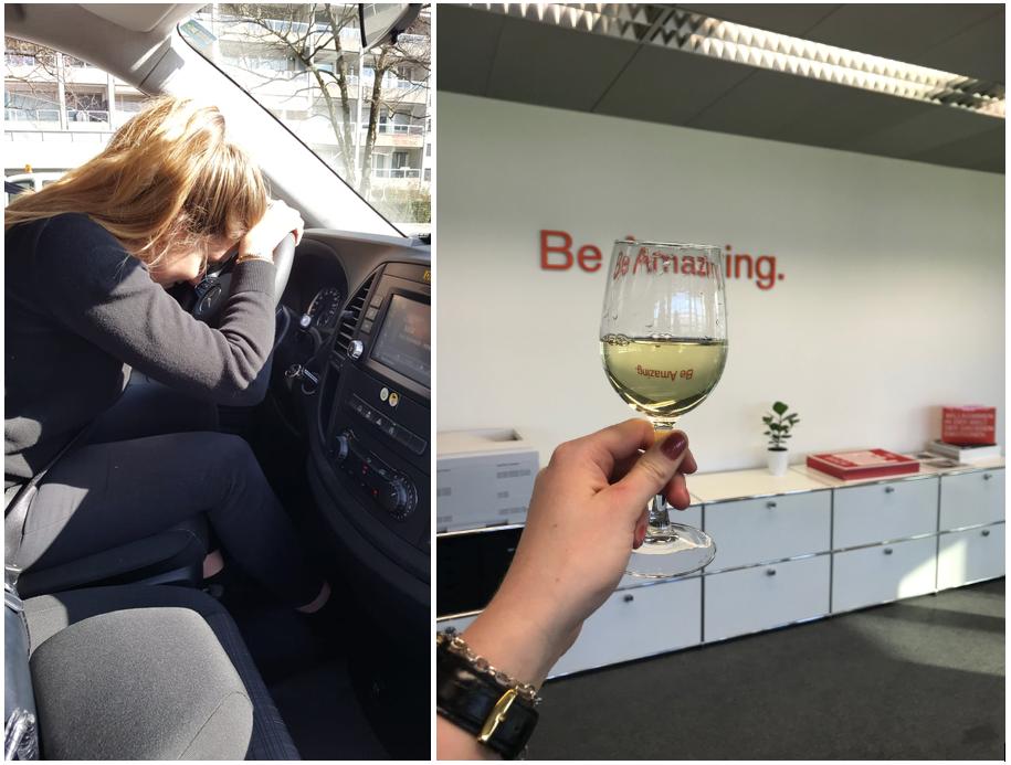 Chauffeur und Weinglas