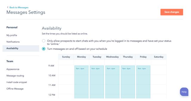 Verfügbarkeiten, Terminplanung HubSpot Messages