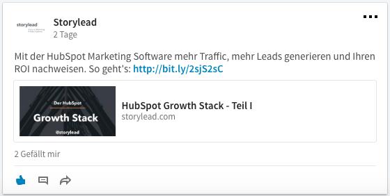 Beispiel eines Social Posting via HubSpot auf LinkedIn