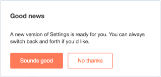 User Settings Update akzeptieren