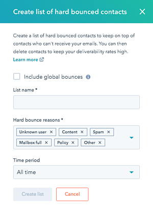 Create Hard Bounce List with HubSpot