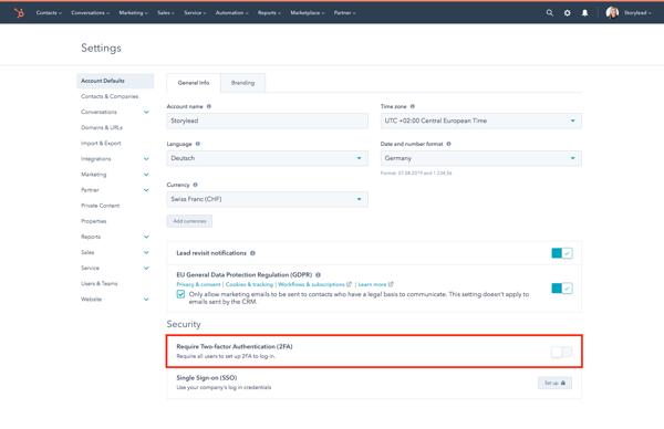 2-Factor-Authentification für HubSpot Accounts verlangen