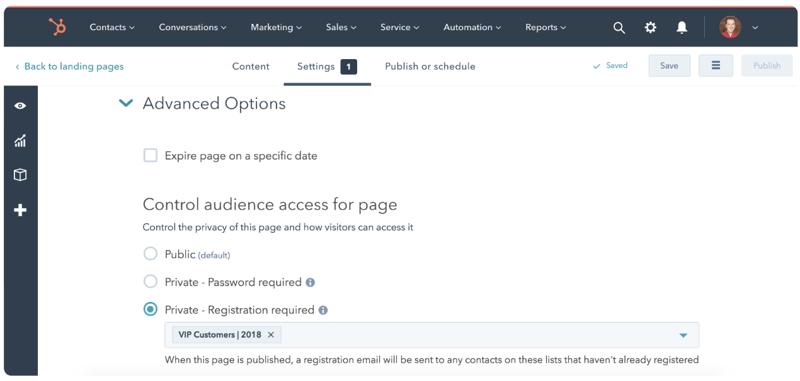 Hubspot Updates - Zugriff auf Website kontrollieren