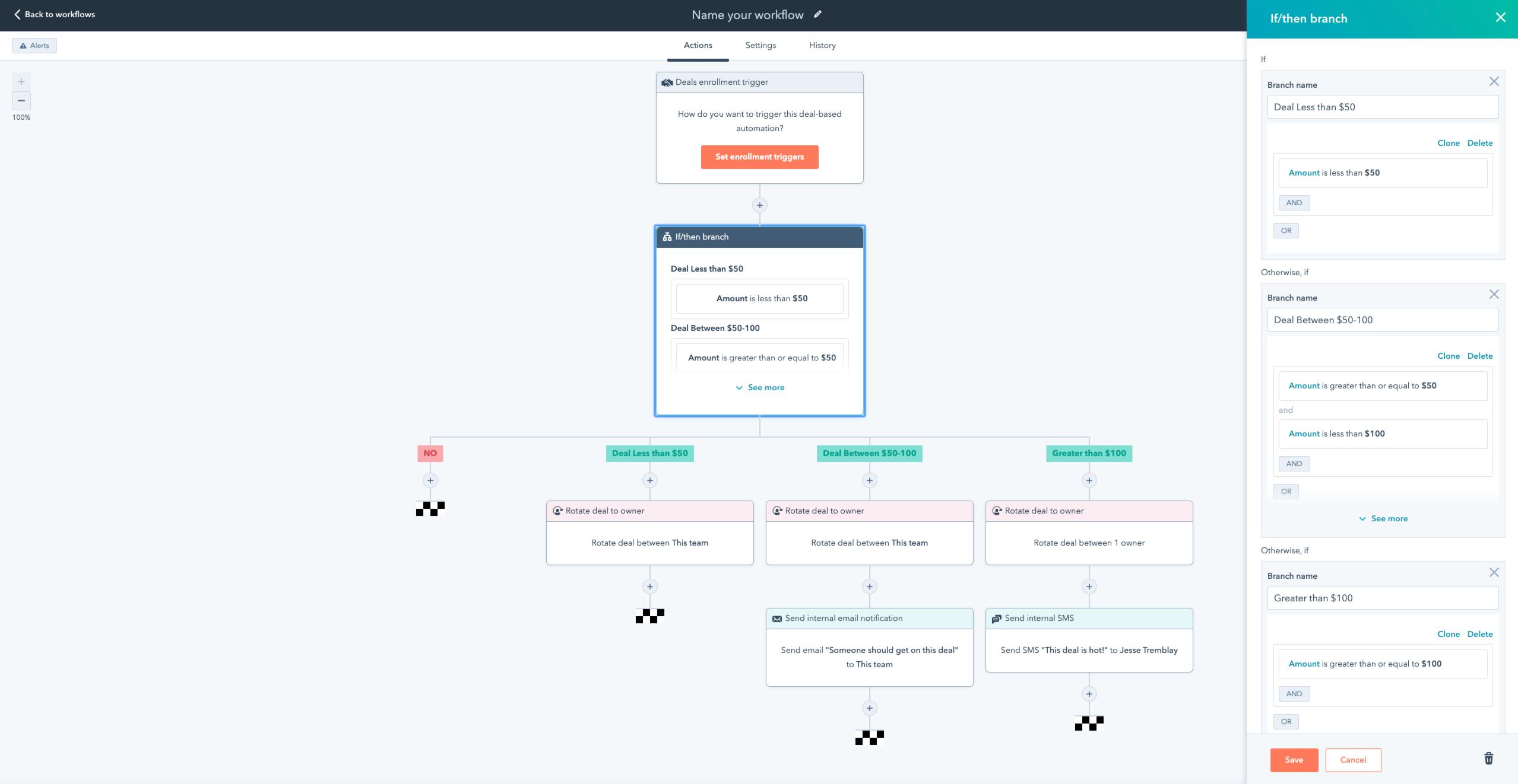 HubSpot Workflow Verzweigungen